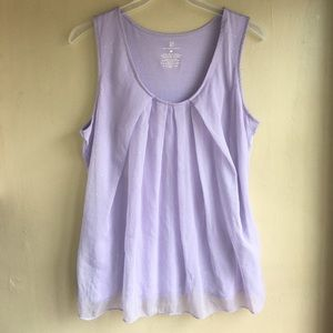 Tank top with semi-sheer overlay in front